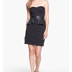 🆕 Faux Leather Black Peplum Dress